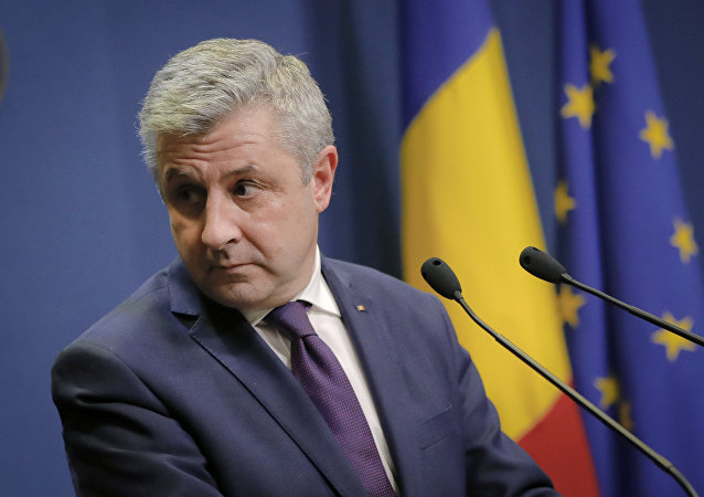 Florin Iordache announces his resignation as Romania's justice minister during a media briefing in Bucharest, Romania, Thursday, Feb. 9, 2017