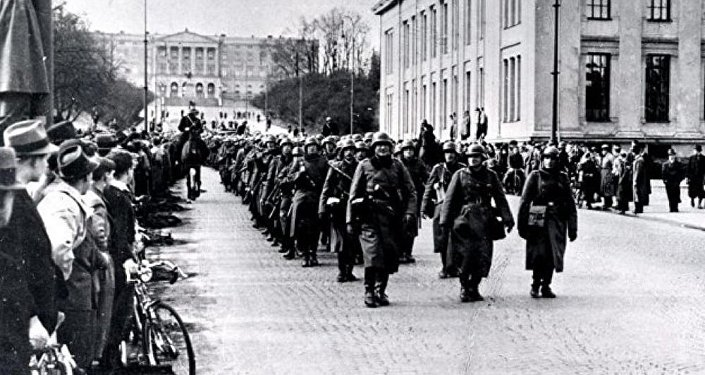 German soldiers marching through Oslo on 9 April 1940