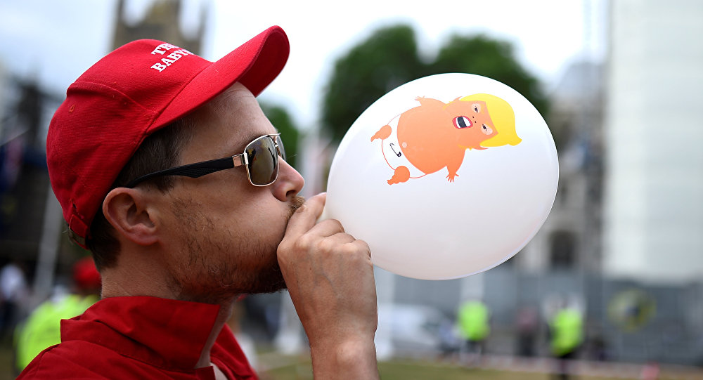 A demonstrator takes part in an anti-Trump protest in London, Britain, June 4, 2019