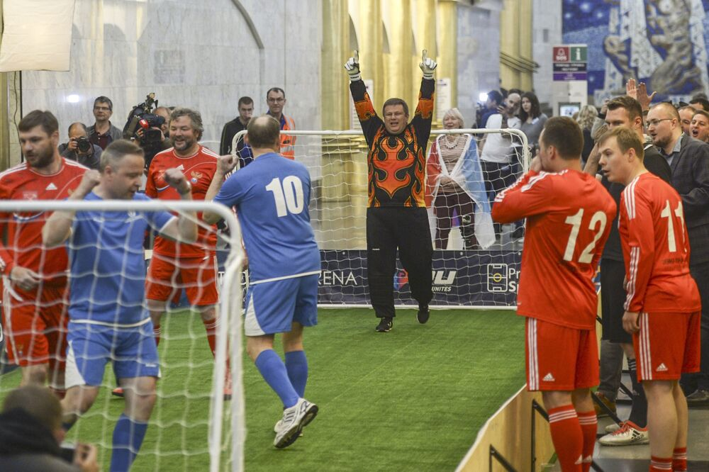 Players during a football match on the platform International of the St. Petersburg subway