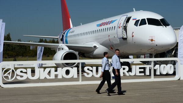 The Sukhoi Superjet 100, presented at the 2015 MAKS air show's opening ceremony in Zhukovsky, outside Moscow. - Sputnik Ελλάδα