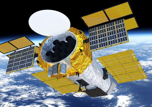 A mock-up of the Chinese Academy of Sciences' enhanced X-ray Timing and Polarimetry (eXTP) satellite, set for launch in 2025.