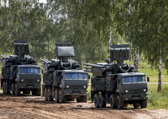 Pantsyr-S close-in air defense system on the Kamaz-6560 trucks displayed at the Army 2015 International Military-Technical Forum in Kubinka.