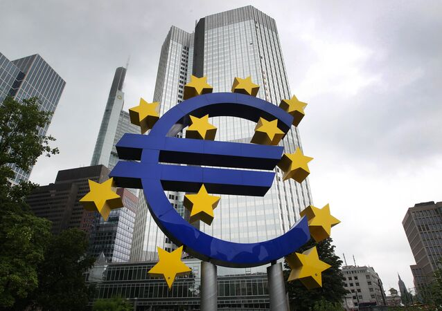 The Euro logo is pictured in front of the former headquarter of the European Central Bank (ECB) in Frankfurt am Main, western Germany, on July 20, 2015.