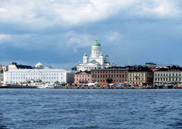 A view from the sea to the harbour and market place of Helsinki