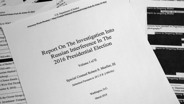 Special counsel Robert Mueller's redacted report on Russian interference in the 2016 presidential election as released on Thursday, April 18, 2019, is photographed in Washington. - Sputnik Ελλάδα