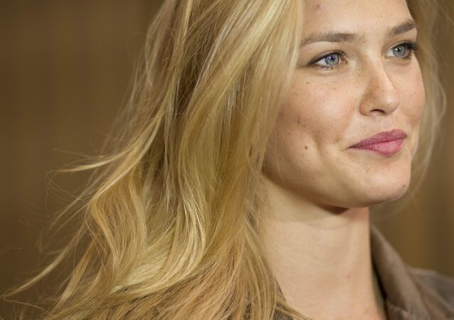 In this May 1, 2012 photo, Israeli model Bar Refaeli holds a news conference on a film set in Eilat, southern Israel.