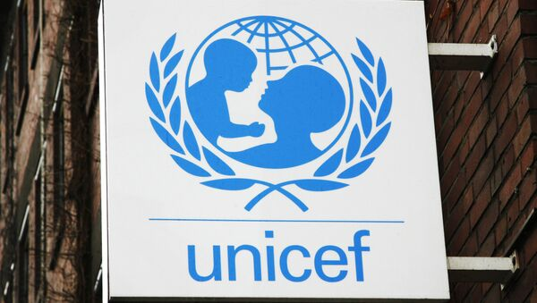 The UNICEF logo is seen at the German UNICEF headquarters in Cologne, Germany, on Feb. 5, 2008. - Sputnik Ελλάδα