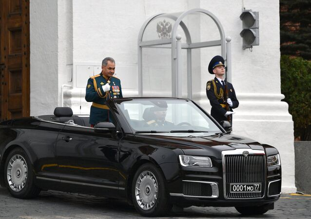 The Aurus luxury car transporting Russian Defence Ministry Sergei Shoigu during the 9 May Victory Day Parade