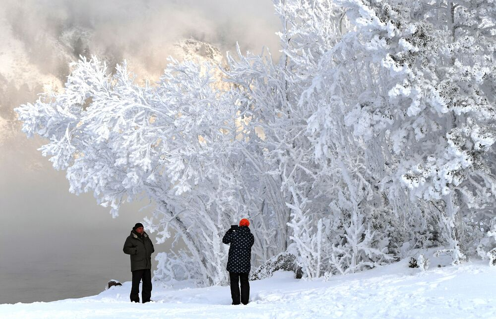 Russian Frost and Snowy Fairy Tales on the Yenisei River in Siberia